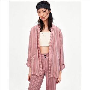 Zara Slouchy Striped Blazer- Pink